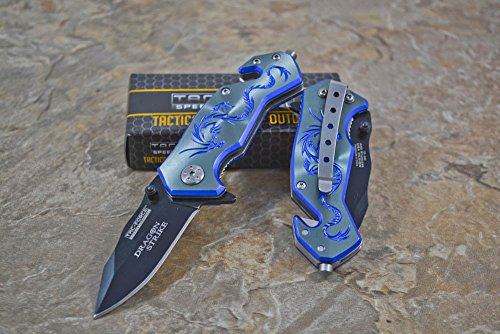 "Tac-force Assisted Opening Camping Hunting Outdoor Blue/gray Aluminum Handle Dragon Graphics Design A/o 3.5"" Closed Small Pocket Knife"