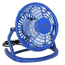USB FAN - iKross USB Mini Desktop Office Fan with 360 Rotation - Blue