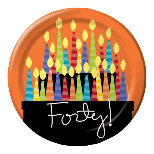 Creative Converting 8 Count Paper Dinner Plates, Great Birthday 40th - 1