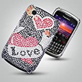 NEW BLACKBERRY CURVE 3G 9300 DIAMANTE CASE - LOVE MOTIF BLACK BACKGROUND DIAMANTE CASE - MOBILE PHONE ACCESSORIES BY OLIVIASPHONESby OLIVIASPHONES