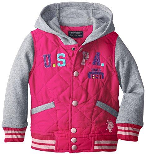 U.S. Polo Association  Little Girls'  Insulated Fleece Jacket With Hood, Fuchsia, 6X