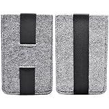iProtect Apple iPhone 5 5s Hülle Filz Tasche mit elastischem Band in grau