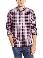 Tom Tailor Camisa Hombre (Rojo / Azul Oscuro / Blanco)
