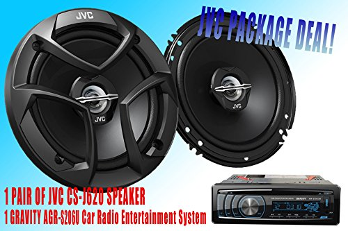 """Jvs Packpage Deal! 1 Pair Jvc 6.5"""" Cs-J620 Car Speaker + 300W Gravity Agr-S206U Car Radio Entertainment System Receiver - Built-In Sd/Usb/Front Aux - Mp3 Playable"""