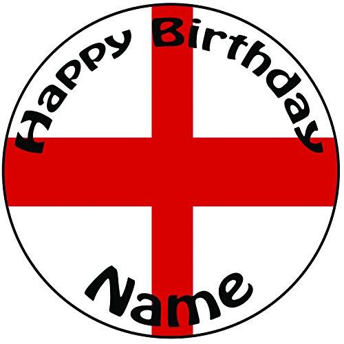 Happy Birthday personnalisable St Georges Angleterre drapeau gâteau-Un Rond prédécoupés 20,3cm Décoration Glaçage (20cm)