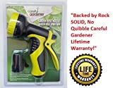 Garden Hose Nozzle: SPRING SALE by Careful Gardener: Best for Lawns, Plants & Shrubs, Washing Cars, Dogs + Pets. Free Detachable Shut Off/ON Valve, Ergonomic Trigger, Easy Flow Control Setting, Durable Soft Touch Grip, 9 Settings. Premium brand backed by Lifetime Warranty