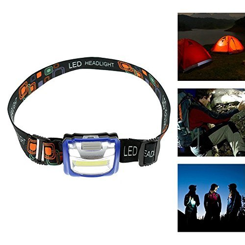 Jewelvwatchro(TM) COB LED Headlamp -Super Bright Headlight With Adjustable Strap- Perfect For Running, Hiking, Cycling, Hunting, Backpacking, Reading (Blue) by Jewelvwatchro - Bright Blue Headlights