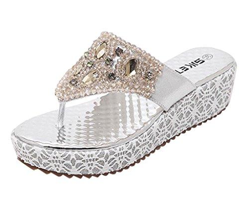 Minetom Damen Mode Sandalen Faux Strass Perlen