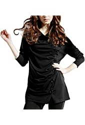 DJT Cowl Neck Button Embellished Ruched Long Sleeve Blouse Top