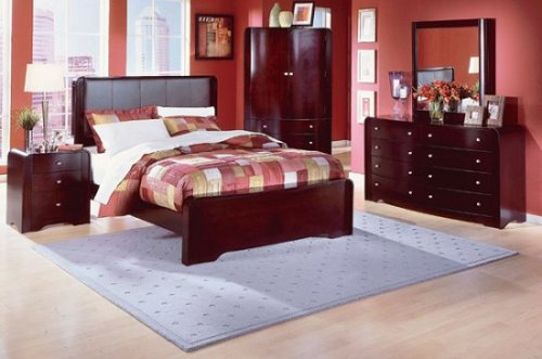 Beacon Cal King Leather Bed Set With Armoire