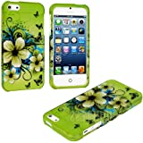 "myLife (TM) Green Tropical Flowers and Butterflies Series (2 Piece Snap On) Hardshell Plates Case for the iPhone 5/5S (5G) 5th Generation Touch Phone (Clip Fitted Front and Back Solid Cover Case + Rubberized Tough Armor Skin + Lifetime Warranty + Sealed Inside myLife Authorized Packaging) ""ADDITIONAL DETAILS: This two piece clip together case has a gloss surface and smooth texture that maximi at Amazon.com"