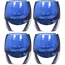 Hosley's Set Of 4 Blue Chunky Glass Tea Light Holders - 3 High By Hosley International