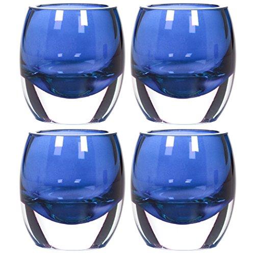 Hosley's Set of 4 Blue Chunky Glass Tea Light Holders - 3