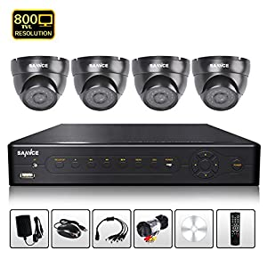 SANNCE 8CH CCTV D1/CIF H.264 DVR Security with 4 800TVL Weatherproof 24 IR led's Night Vision Up to 85ft Cameras,Support Smartphone Scan QR Code Quick Remote Access,Receive Email Alerts Upon Motion Detection ( NO HDD Include )