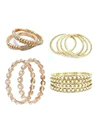 Aria Pearl Combo Offer Gold Plated 4 Designs Bangle Size 2.6 C47