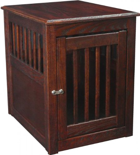 Solid Oak Dog Crate End Table Medium Mahogany
