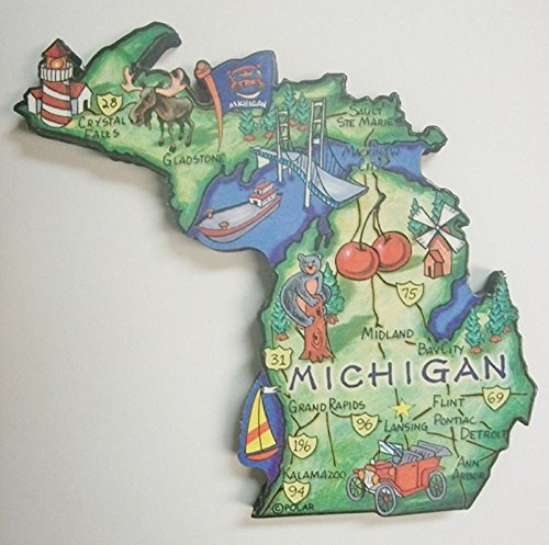 Michigan the Great Lakes State Artwood Jumbo Fridge Magnet (Michigan Fridge Magnet compare prices)
