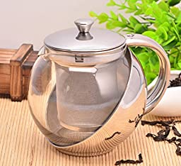 Fu Global 900 ml Best Value Economic Tea Maker with Removable Infuser, Safe Glass Pot Body Easy To Clean (SILVER-1)