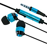 Cell Accessories For Less (TM) Blue Earphone Headphones With Mic Bundle (Stylus & Micro Cleaning Cloth) - By TheTargetBuys