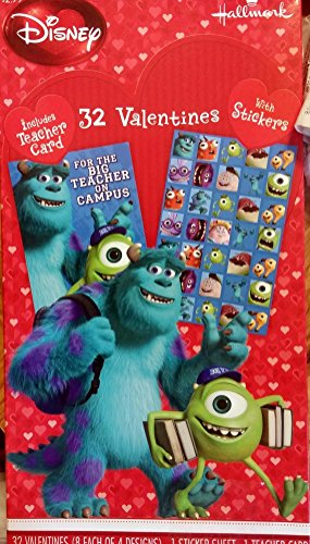 32 Monster University Valentines with stickers - 1