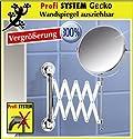 WENKO Kosmetikspiegel SILBER - ohne Bohren - Ø 17 cm - Wandspiegel ausziehbar - Badspiegel zweiseitig - mit 300% Vergrößerung - Bad Kosmetik Spiegel