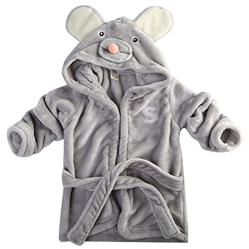Hotone Baby Cotton Cartoon Animal Hooded Towel Bath Robe Super Absorbent (6-12 Months, Mouse)