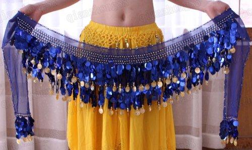 100% Handmade Belly Dance Hip Scarf , Gold Coins Wave & Deluxe V-hape --Navy Blue