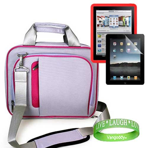 Apple iPad Accessories kit for travel and protection Includes: ** PURPLE - HOT PINK TRIM ** Apple iPad Messenger Bag Carrying Case + ** RED ** Apple iPad Silicone Skin + Apple iPad Screen Protector + Live * Laugh * Love Wrist Band!!!