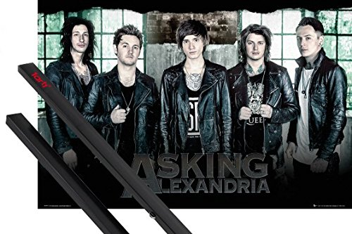 Poster + Sospensione : Asking Alexandria Poster Stampa (91x61 cm) Break Down The Walls E Coppia Di Barre Porta Poster Nere 1art1®