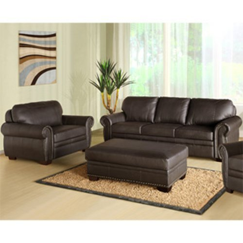 Abbyson Living Austin Premium Leather Sofa/Chair/Ottoman Set