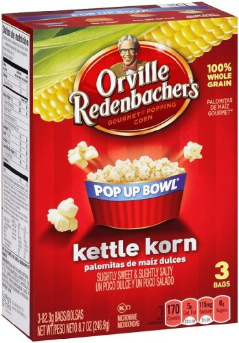 Orville Redenbacher'S Gourmet Microwave Popcorn In Pop Up Bowl, Kettle Korn, 3 Count (Pack Of 3) 100% Whole Grain Healthy Snack Flavored Popcorn For Movie Night No Hydrogenated Oil Low Sodium No Sugar Gluten Free Kettle Corn