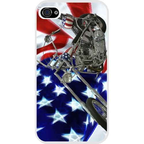 Rikki KnightTM American Flag Harley Davidson White Case Cover for Apple iPhone 4 & 4s Universal Verizon   Sprint   AT&T Unisex (New 2013 case design)