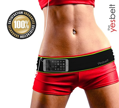YesBelt #1 Premium Running & Fitness Workout Belt - FITS BIG SMART PHONES like iPhone 6 Plus and Samsung Note 4 - Runners Waist Pack to HOLD YOUR PHONE - LIGHT & NO BOUNCE Runner