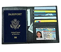 RFID Blocking Genuine Leather Passport Holder Cover Travel Wallet for Men & Women Protect Your ID Credit Card Documents