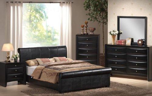 4pcs California King Size Bedroom Set - Black Finish