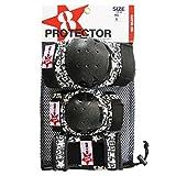 GOSK8 プロテクター 3点セット ブラック/ レッド XS
