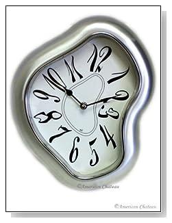 Retro Silver Modern Metal Salvador Dali Wall Clock