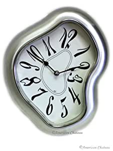 American Chateau Retro Metal Salvador Dali Wall Clock, Silver