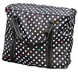 【Cat Hand(キャット ハンド)】2WAY 折り畳み バッグ キャリー スーツケース の持ち手に通せる 旅行 の サブバッグ に 最適 ポップ な ストライプ 水玉 柄 7色展開 (ブラック/水玉柄)