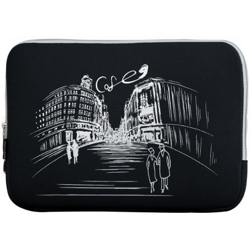 13.3 inch Black Cafe in Paris Notebook Laptop Sleeve Bag Carrying Case for Apple MacBook 13 and 13 inch Computer