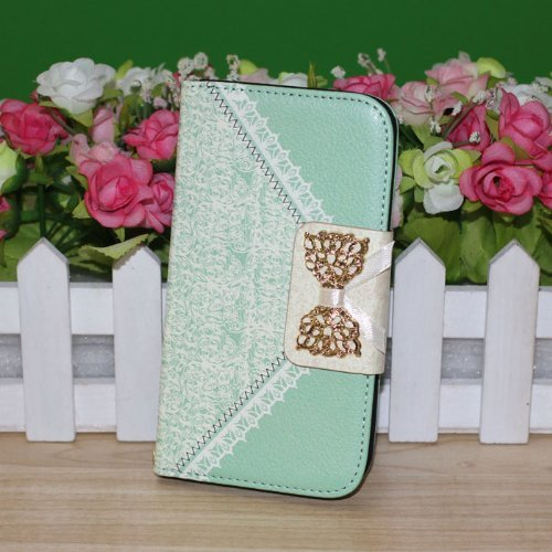 Fashion Girl Woman Fresh Sweet Cute Flip Wallet Leather Case Cover For Samsung Galaxy Note 3 N9000 (Green)