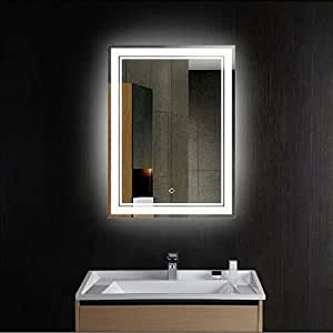 vertical led lighted vanity bathroom silvered mirror with touch. Black Bedroom Furniture Sets. Home Design Ideas