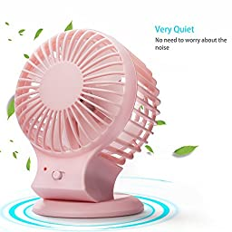 Sofisundance Rechargeable USB Mini Fan Strong Wind Portable for Home Office Outdoor Pink