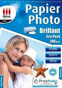 Papier imprimante Micro Application Papier Photo - Brillant - Eco Pack