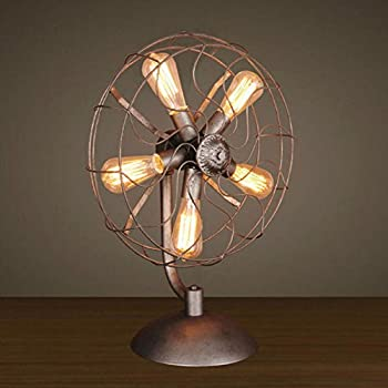 5-lights Vintage Industrial Metal Fans shape Table Lamp Desktop Decor Retro Rustic Bedside Home Decor