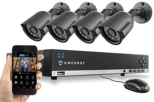 Amcrest 960H Video Security System – Four 800+ TVL Weatherproof Cameras, 65ft IR LED Night Vision, 960H DVR, Long Distance Transmit Range (984ft), 500GB HD (Upgradable) for 6 Days of HD Recording (30+ Days at Lower Resolution Settings), USB Backup Feature, and More