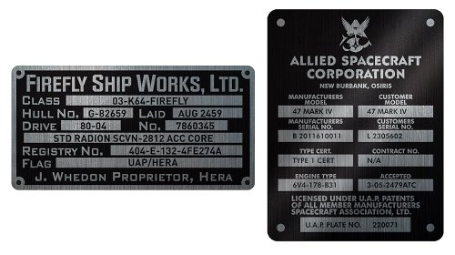 Quantum Mechanix Firefly Builder's Plaques Metalized Sticker Set - 1