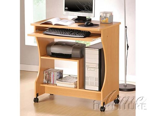 Buy Low Price Comfortable New Maple Finish Computer Desk w/Wheel ACS008016 (B004SPJYXC)