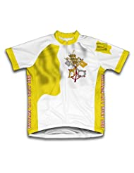 Vatican City Flag Short Sleeve Cycling Jersey for Women