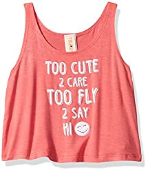 Truluv Little Girls' Summer Meadow Too Cute 2 Care Scoop Neck Tank, Coral, 12